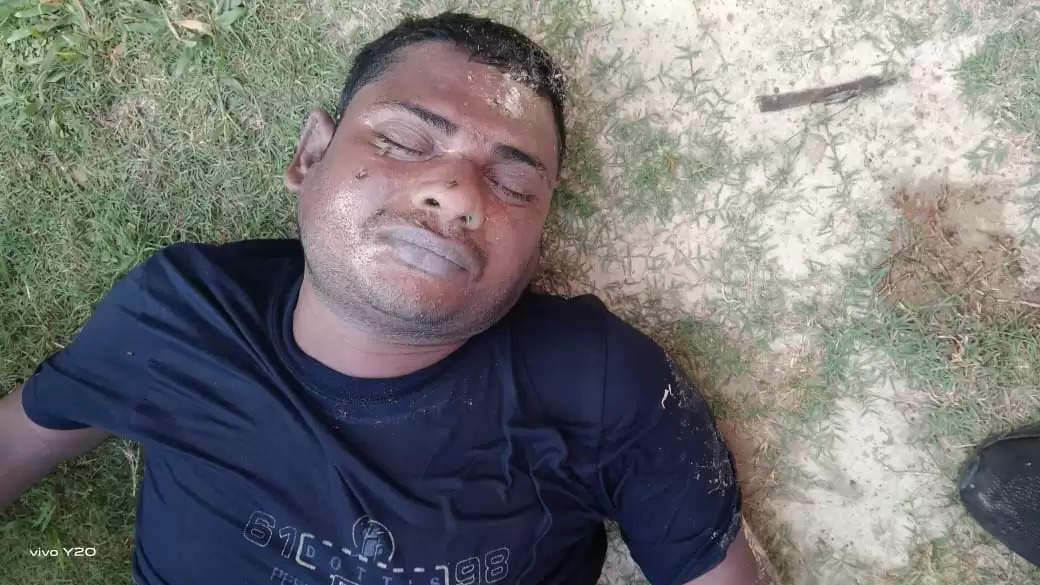 Unknown Dead body in pond Saresar